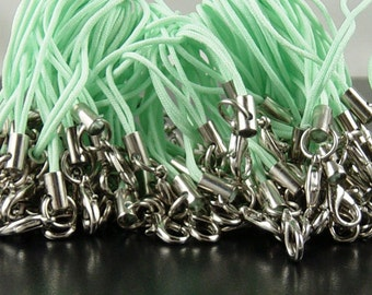 CLEARANCE CELL PHONE Straps 24 Zipper Pulls Jump Rings Lobster Clasp Light Green Lanyard Cord (1011stra60g1)os