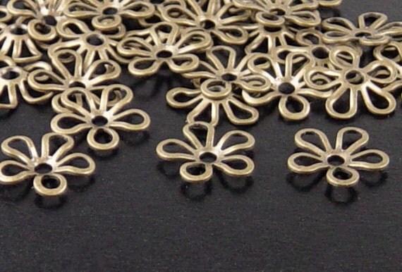 Bronze Bead Cap 100 Antique Bronze Flower Victorian 5-Petal 9mm (1080cap09z1)