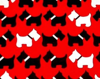 SCOTTIE DOG urban zoologie robert kaufman black white red cotton quilt fabric BTY