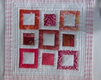 Scrappy Pink Modern Quilted Table Topper Mug Rug Coaster
