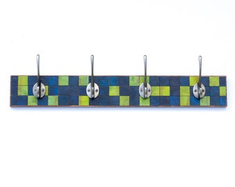 Wall Coat Rack Handmade Paper Blue Green Modern Wall Storage Mosaic Contemporary Tiles Recycled Wood Clothes Hanger Boys Bedroom Decor