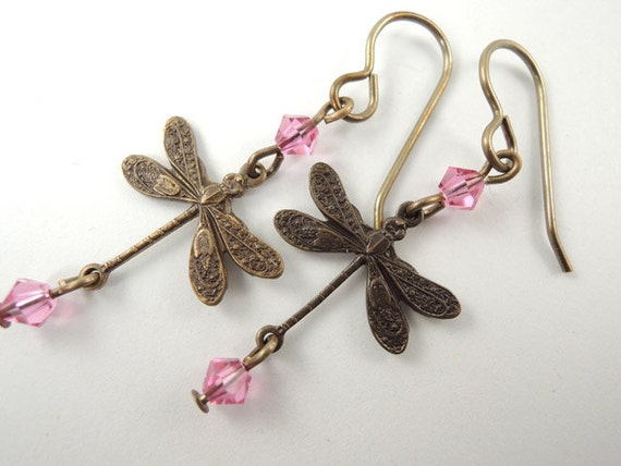 Brass Dragonfly Earrings with Pink Crystals