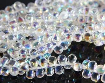 50pcs Czech Glass Tear Drops-Crystal AB 8x6mm (86X0003) (B-10-2)