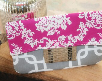 Chevron Clutch, Damask Wristlet Purse, Fold over Clutch, Pink Damask Burlap and More