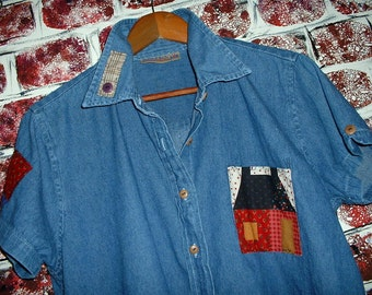 """Denim Shirt/Jacket, XL, Upcycled, from """"Pretty in Plus"""", Short Sleeves, Cotton Patches w/Vintage Buttons"""