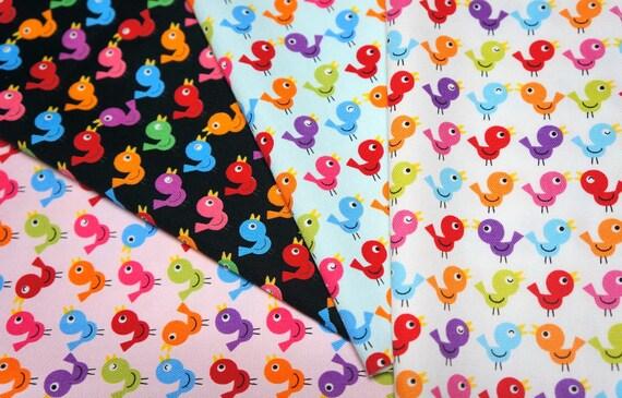 Bird print Japanese fabric scrap FS11