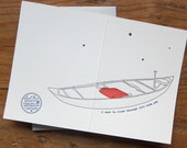 love valentines day letterpress greeting card with canoe and stars