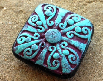 hand altered chunky square focal bead CARNIVAL berry and verdigris on black ornate lucite bead 2 pcs