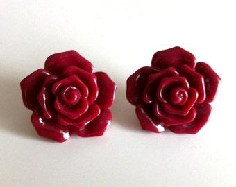 Oxblood Flower Earrings