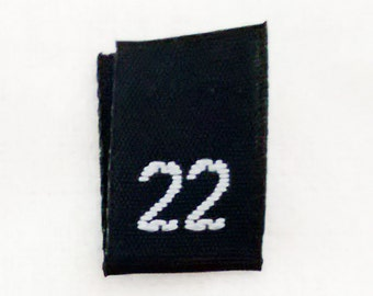 Size 22 (Twenty-Two) BLACK- Woven Clothing Size Tags (Package of 50)