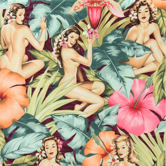 Three (3) Yards - Mirage on Garnet Red Nudes Pin Up Fabric by Alexander Henry
