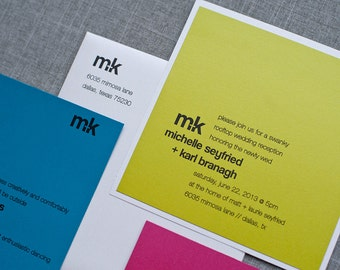 Bright and Colorful Custom Wedding Invitation Suite, Modern Monogram   Michelle and Karl