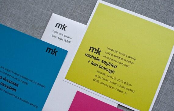 Bold Wedding Invitation, Bright Invitation Modern Wedding Invitation Suite - Contemporary, Unique, Colorful - Custom -Michelle and Karl