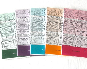PAINT CHIP MATCHBOOK notepads Set of 5- Tickets in brights