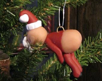 """Naked """"Naughty"""" Mooning Santa Claus - Unique, Jolly and Funny Santa Christmas Ornament"""