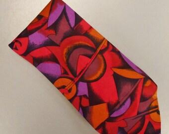 Designer MISSONI  Neck TIE 1980s Wide  Silk Satin red orange mauve Geometric  59 in 4in