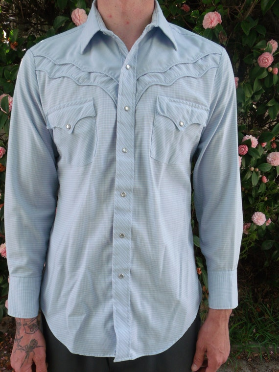 Vintage Mens Western Snap Down Shirt Vlv Rockabilly Shirt