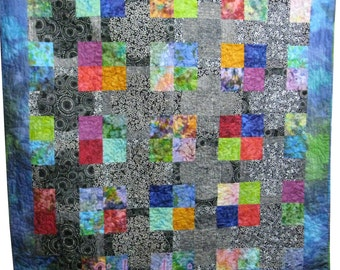 Throw Quilt in Black, White and Bright Batiks
