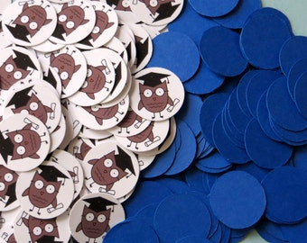 Graduation Owl Confetti 3/4 Inch Circles - Blue or Your School Colors