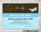 Baby on the Way airplane custom baby shower invitation - digital file