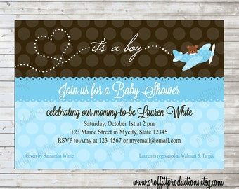 Baby on the Way airplane custom baby shower invitation - digital file