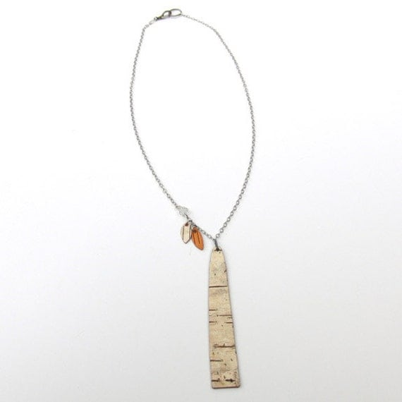 Birch Bark Tree and Leaves Necklace