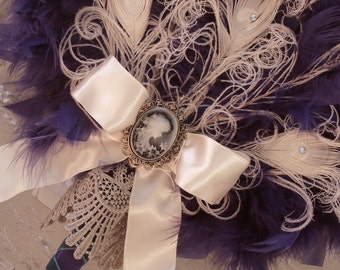 Ivory Peacock Feather Fan Bouquet in your choice of colors