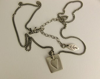 Brushed Silver Heart Overlay Necklace Curb Cable Chain
