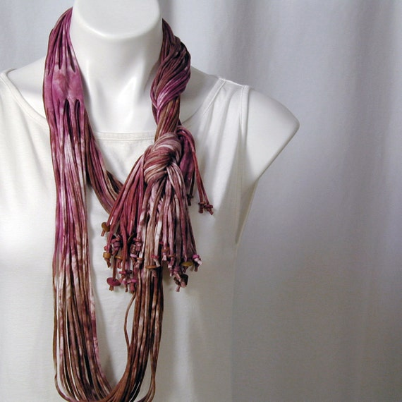 The Soba Scarf in Magenta and Walnut