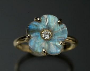 14 Karat Yellow Gold Diamond and Labradorite Engagement Ring