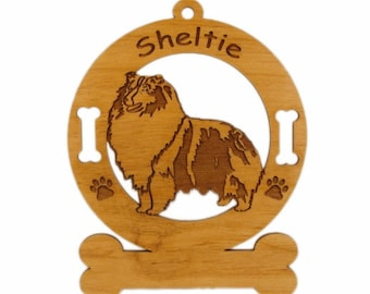 3933 Sheltie Blue Merle Stack 2 Personalized Dog Ornament