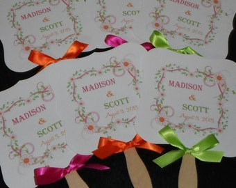 Wedding Fans with Monogram, Wedding Fan, Garden Wedding Fan, Wedding Program Fan, Wedding Fan Program