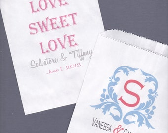 Wedding, Candy Buffet Bag, Favor Bags, Cookie Bar, Treat Bags, Personalized Bags, Love is Sweet, Wedding Monogram 25 bags
