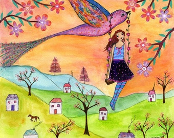 Folk Art Painting, Girl and Bird Painting, Nursery Decor, Nursery Wall Art, Art Block