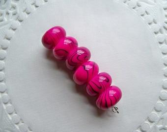 MAGENTA Beads/HOT PINK Beads/Acrylic Beads/Large Hole Beads/Swirl Beads/Donut Beads/Striped Beads/14mm Beads