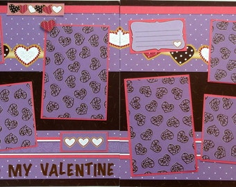 BE MY VALENTINE 12 x 12 premade scrapbook pages - Valentine's Day