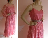 Pink Lady Vintage 1980s Pink Satin and Lace Party Dress