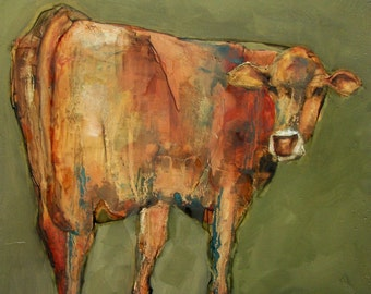 COW 8 X 10 COW -  Giclee print from my original oil painting -  Farm Folk Art