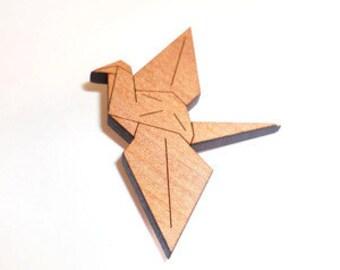 Tasmanian Myrtle Origami Peace Crane Brooch - laser cut wooden paper crane bird pin