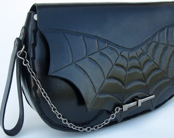Spiderweb....Handmade Tooled Leather Clutch Purse
