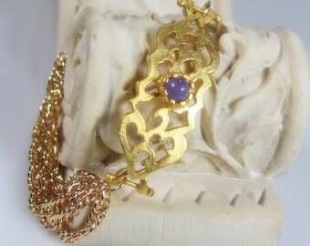 Lilac Purple Jade Gemstone Gold Filled Bracelet