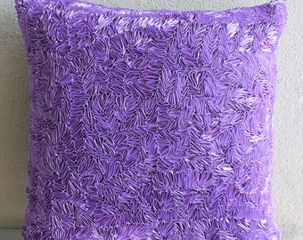 """Luxury Purple Cushion Covers, Textured Ribbon Pillow Cover Square  18""""x18"""" Silk Throw Pillows Cover - Purple Sea"""
