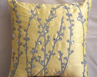 Decorative Throw Pillow Covers Accent Pillow Couch Pillow 18 Inch Silk Pillow Cover Embroidered Yellow Crystal Willow Home Living Decor