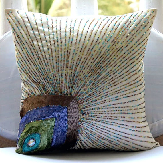 How To Make Decorative Throw Pillow Covers : Luxury Ivory Accent Pillows 16x16 Silk Pillows