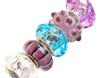 MERZIEs 5 silver lampwork European Charm chain pink blue white pink black clear lavendar  beads