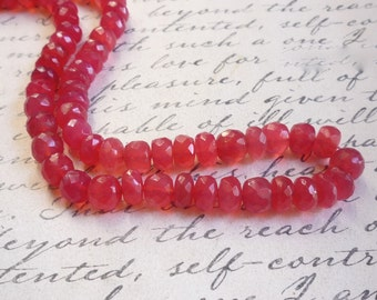 Grapefruit Pink BIG FAT Chalcedony Rondelle Beads, Your Choice 7mm 8mm 10mm ROndelle Beads ,Full Strand