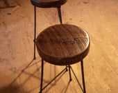 Free Shipping Reclaimed Wood Bar Stools with Industrial Rebar Legs
