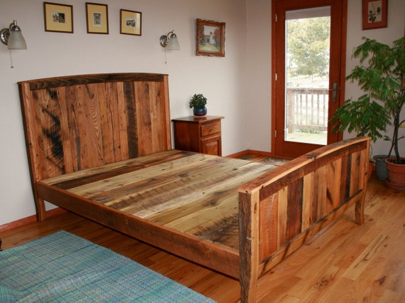 Cozy Country Bedframe From Wormy Chestnut And Reclaimed Oak - Reclaimed Wood Bed Frames Show Home Design
