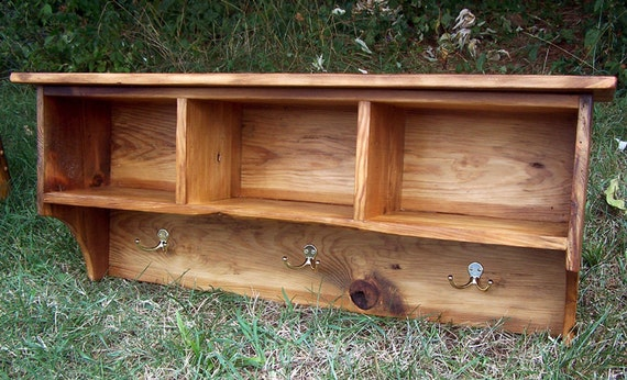 Reclaimed Pine Coat Rack Cubby Shelf for Entryway