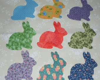 9 Hopping Bunny Rabbit Appliques -- Just Iron On  ..Worldwide Shipping